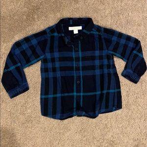 Burberry blue plaid shirt, size 2Y
